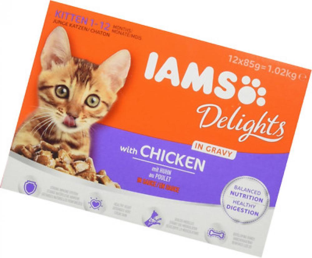 Iams Wet Cat Food Delights Gravy with Chicken 85 g