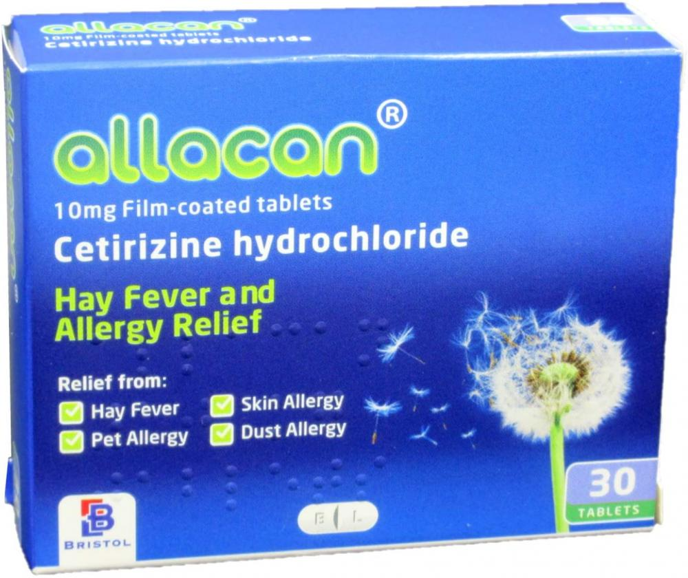 Allacan Hayfever Allergy Relief 1 a Day Tablets Cetirizine 30 tablets Damaged Box