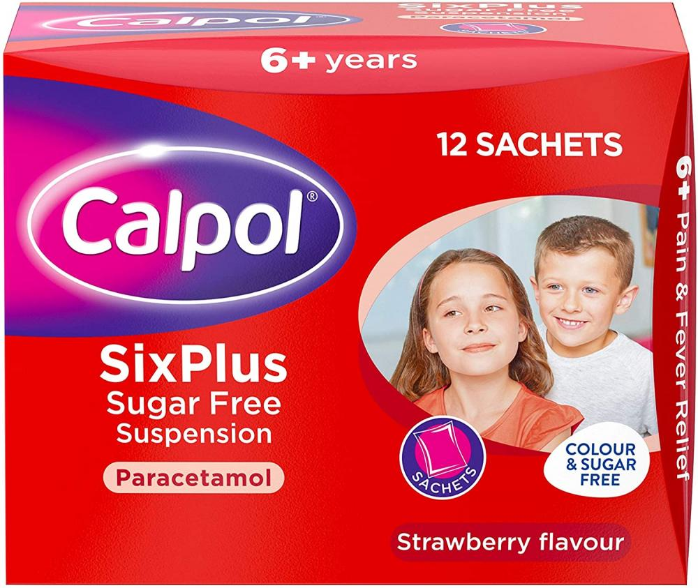 Calpol SixPlus Sugar Free Strawberry Paracetamol 12 Sachets