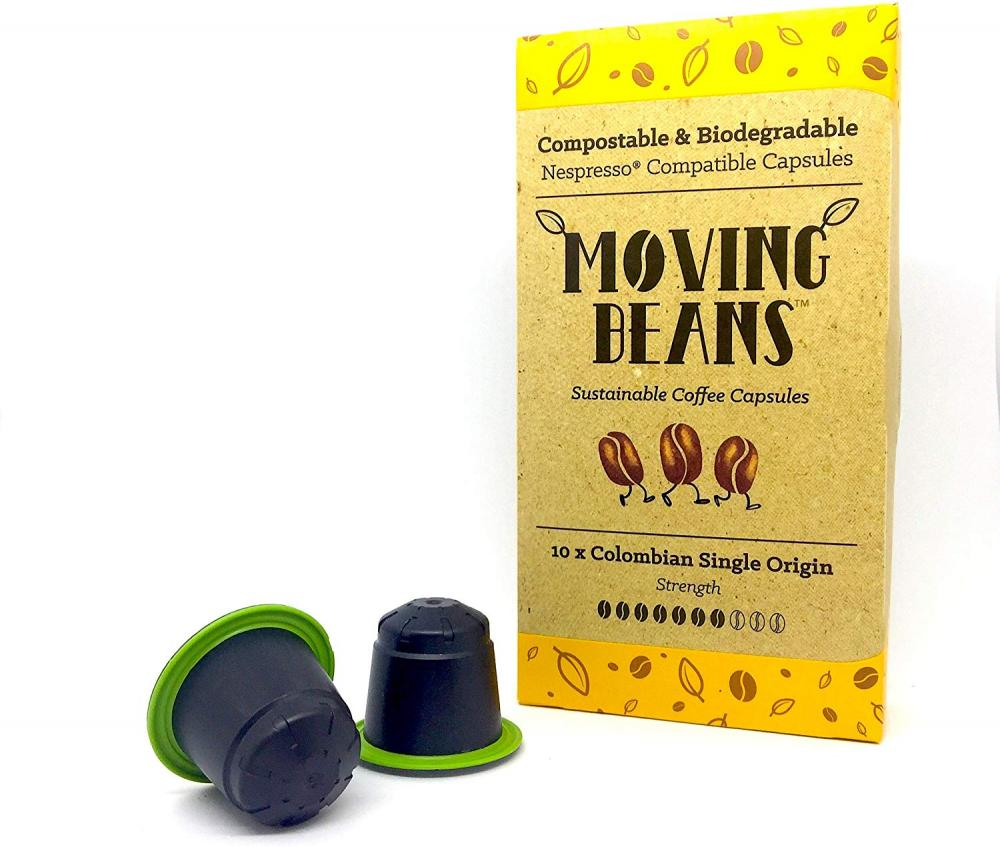 Moving Beans Colombian Single Origin Compostable and Biodegradable Nespresso Compatible Coffee Capsules 10 Pods