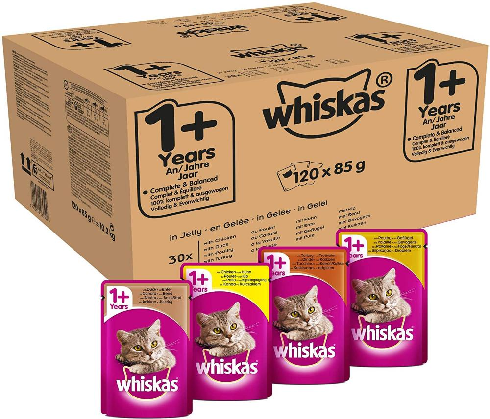 CASE PRICE  Whiskas 1 Plus Cat Food Casserole Poultry Selection in Jelly 120x85g