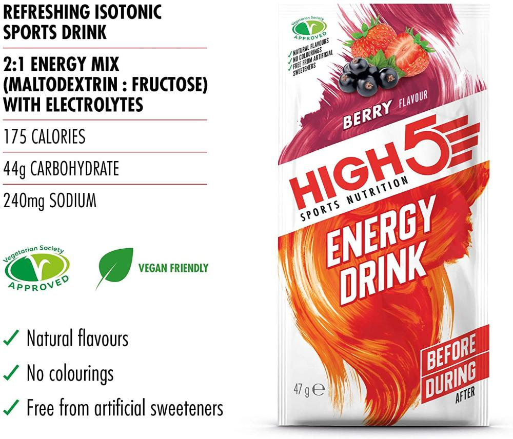 High 5 Sports Nutrition Energy Hydration Drink Berry Flavour 47 g