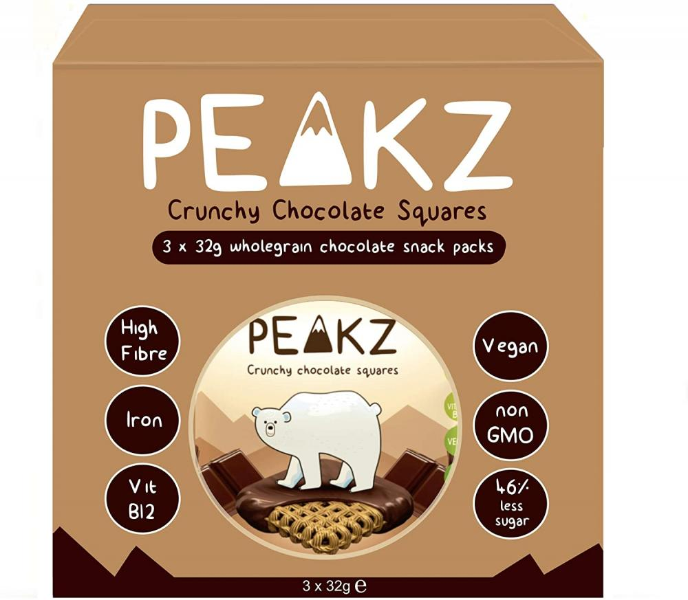 Peakz Crunchy Chocolate Squares Multipack 3 x 32g