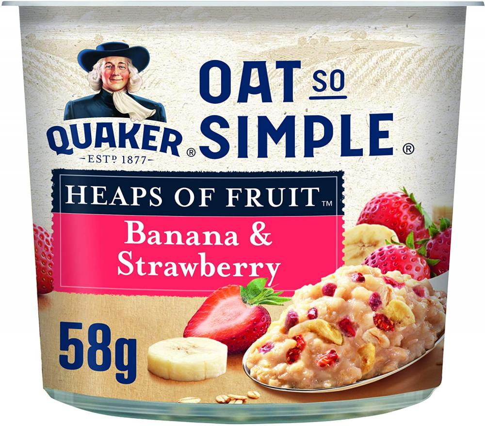 Quaker Oats Oat So Simple Banana and Strawberry Porridge Pot 58 g