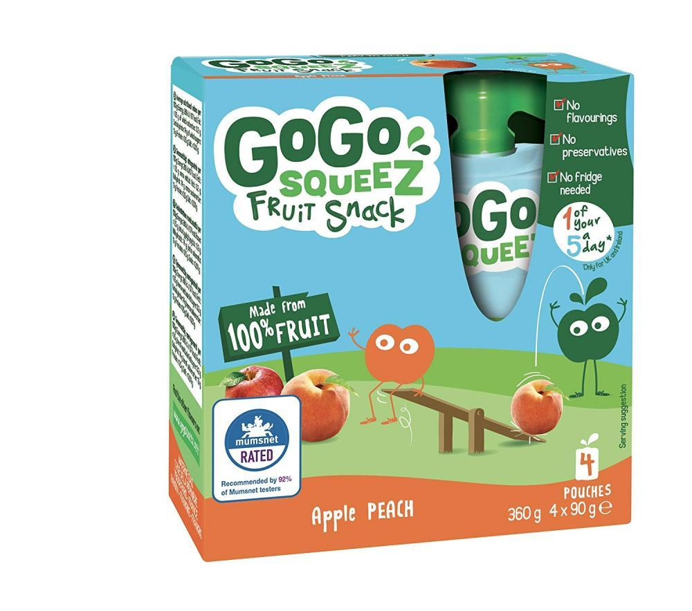 GoGo Squeez Apple Peach Puree Pouches 4x90g