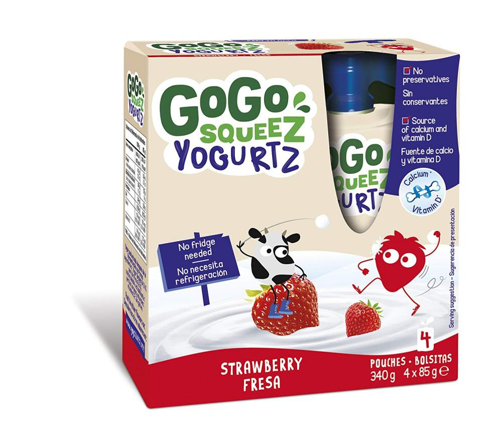 GoGo Squeez Strawberry Yogurt Pouches Multipack 4x85g
