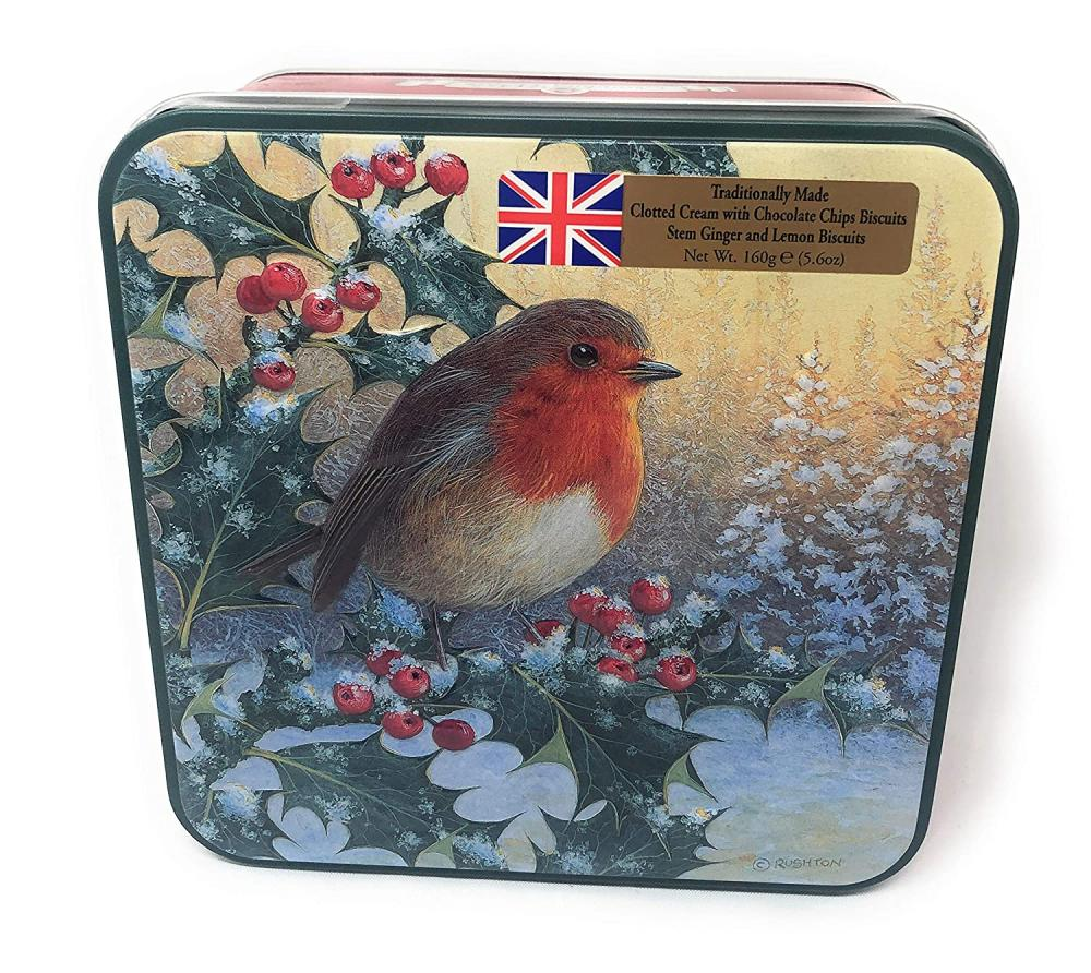 Grandma Wilds Robin and Holly Biscuit Selection Tin 160g