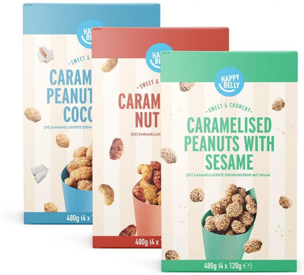 Happy Belly CASE PRICE Caramelised Nuts Assorted 3 x 480 g