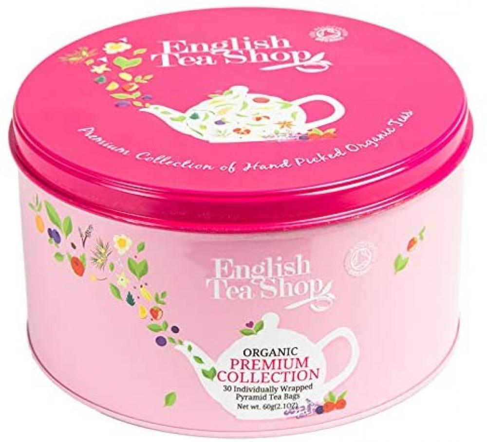 English Tea Shop Round Assortment Pink Nylon Pyramid Tin 60 g