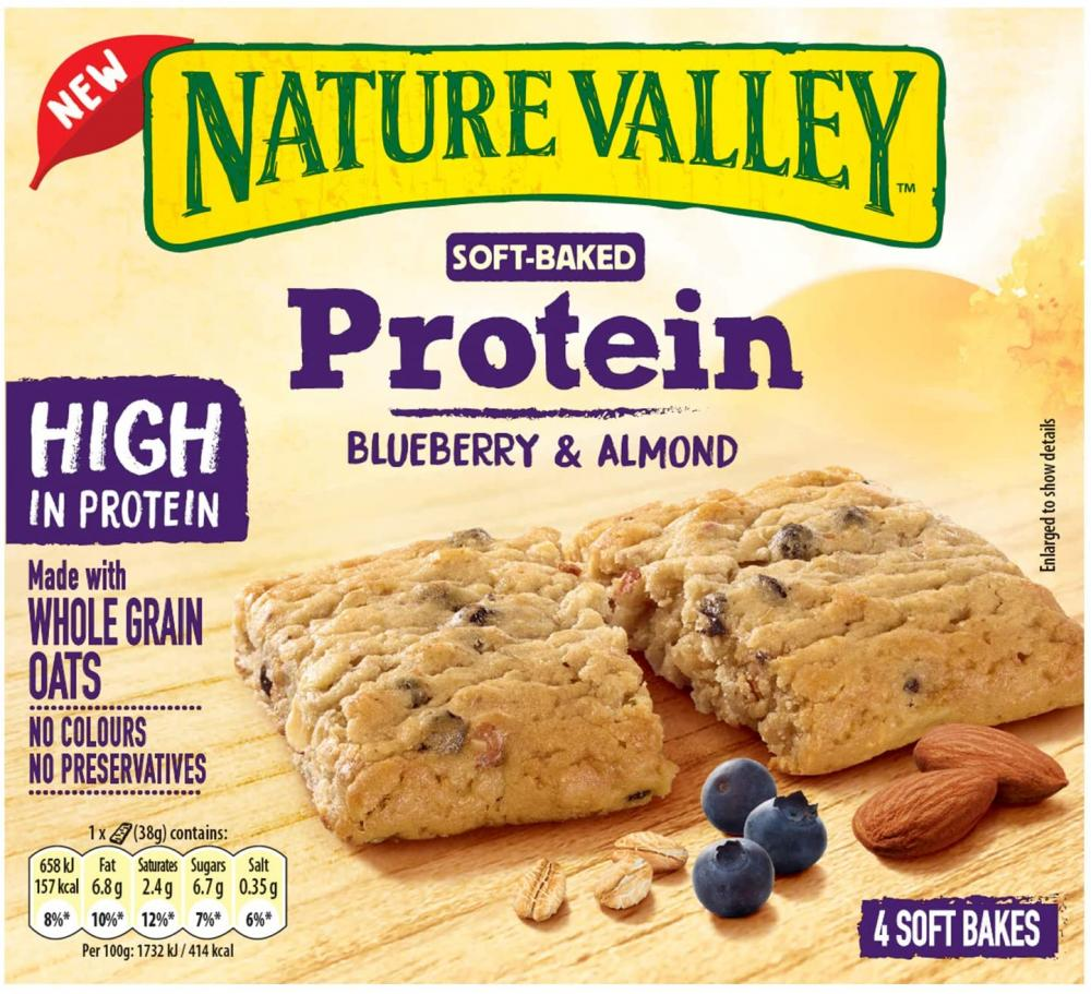 Nature Valley Protein Soft Bakes Blueberry Breakfast Biscuits Cereal Bars 4 x 38g