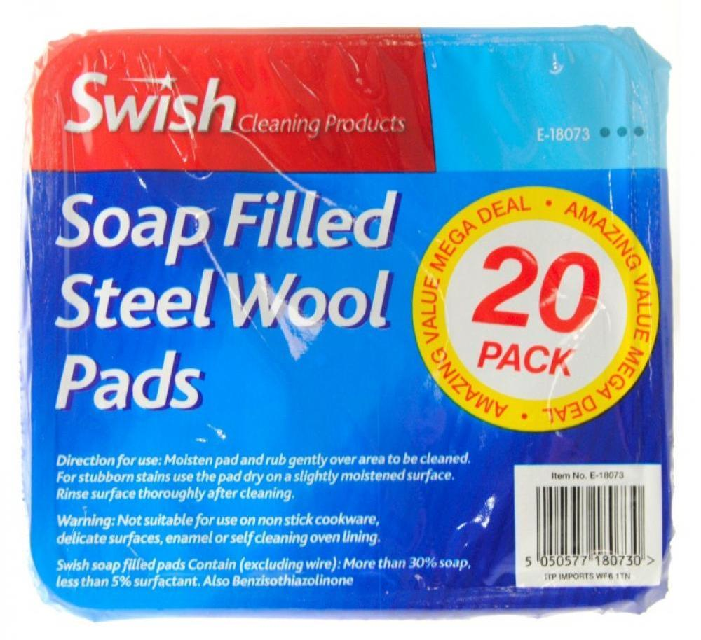 Swish Soap Filled Steel Wool Pads 20 Pack