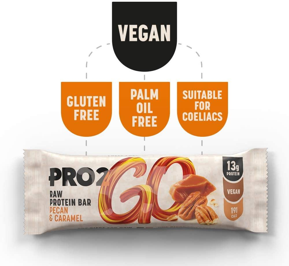 Pro 2Go Raw Protein Bar Pecan And Caramel High Protein 50 g
