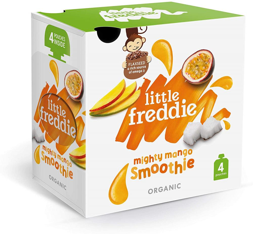 SALE  Little Freddie Organic Baby Food Stage 1 Mighty Mango Smoothie Pouches - from 6 Months 4 x 90g