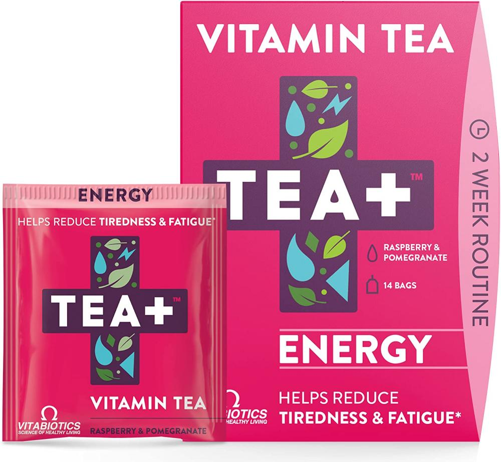Tea Plus Energy Vitamin Infused Tea Raspberry and Pomegranate 14 bags