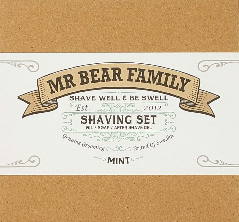 Mr Bear Family Shaving Set - Mint (Shaving OilShaving SoapAfter Shave Gel)