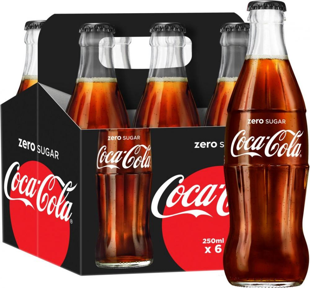 Coca Cola Zero Sugar Glass Bottle 6 x 250ml