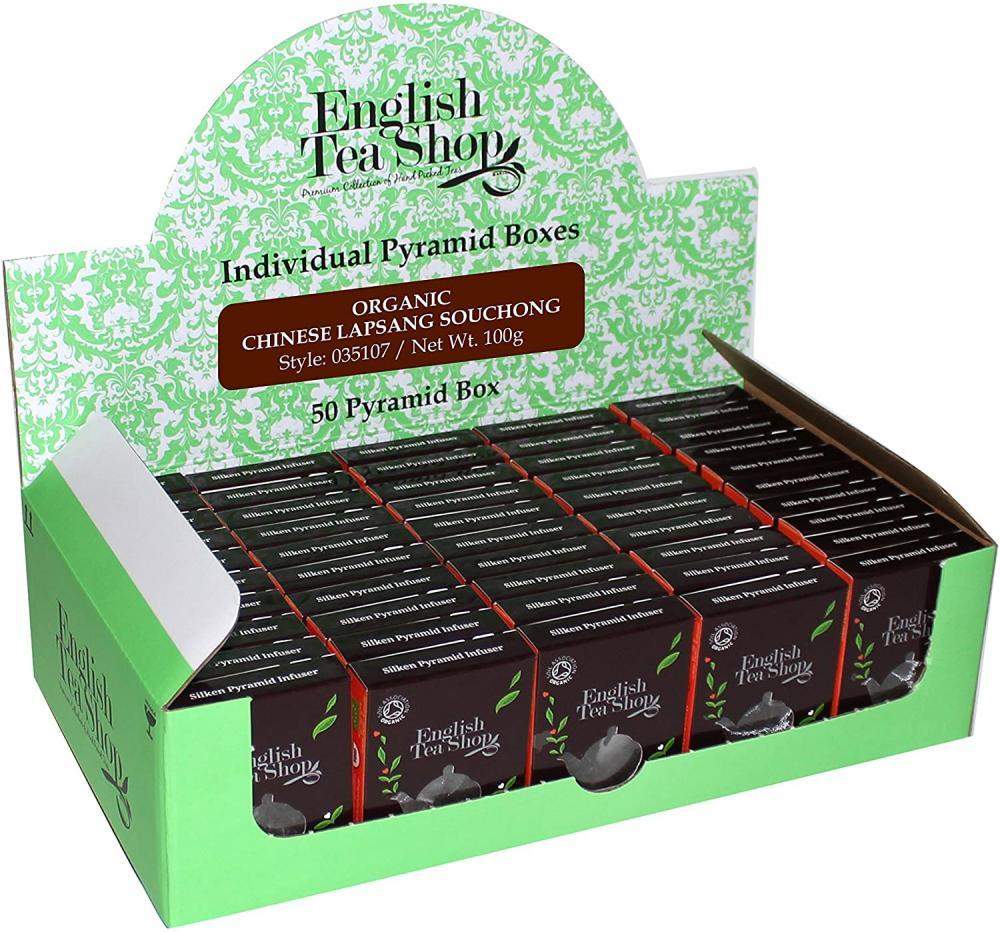 English Tea Shop Organic Fairtrade Lapsang Souchong Pyramid Tea 50 Bags