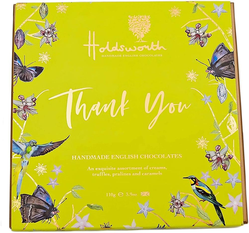Holdsworth Chocolates Thank You Gift Box of Handmade Truffles with Assorted Milk with White and Dark Chocolates Perfect for Gifting British Handmade Pralines and Caramels 110 g