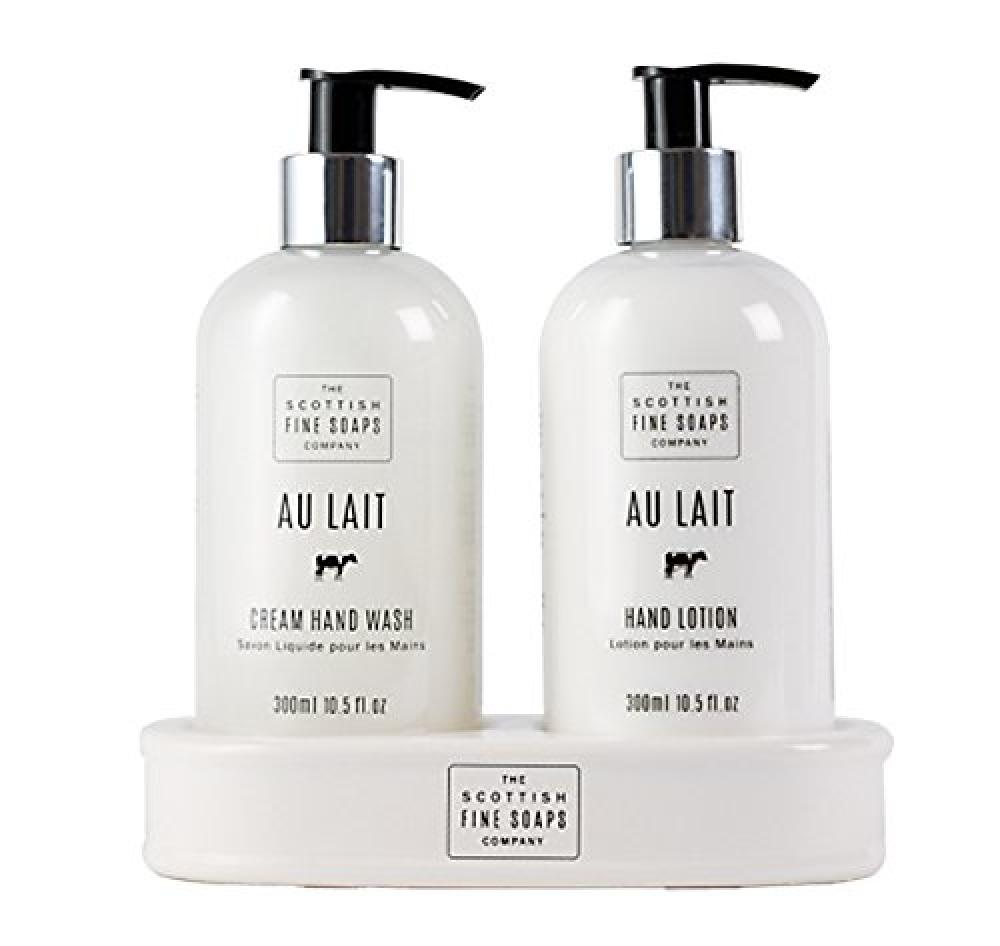 WEEKLY DEAL  The Scottish Fine Soaps Company Au Lait Hand Care Set (Hand Wash Lotion and Ceramic Bottle Stand) 2 x 300 ml