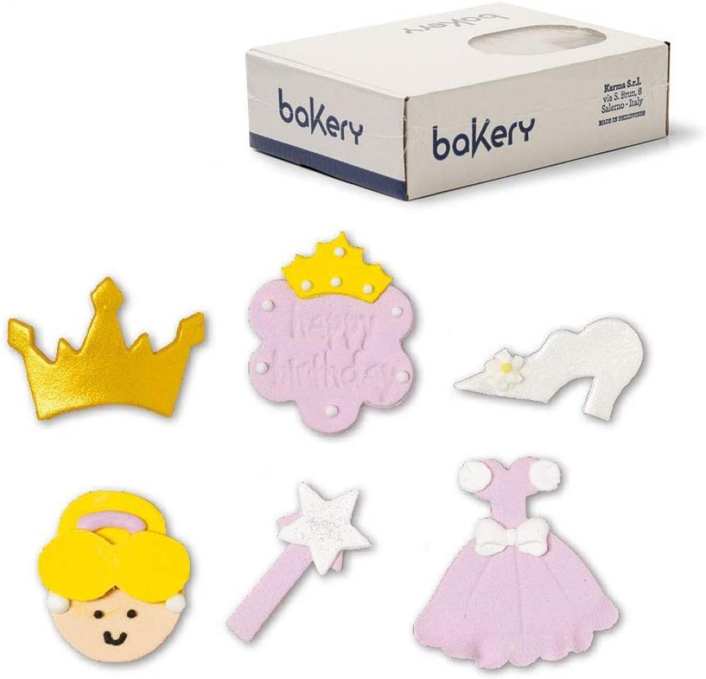 Bakery Sugar Decorations Pink Princess 60 Pcs