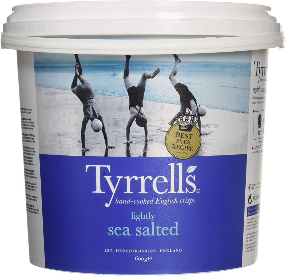 Tyrrells Lightly Sea Salted Tub 600g