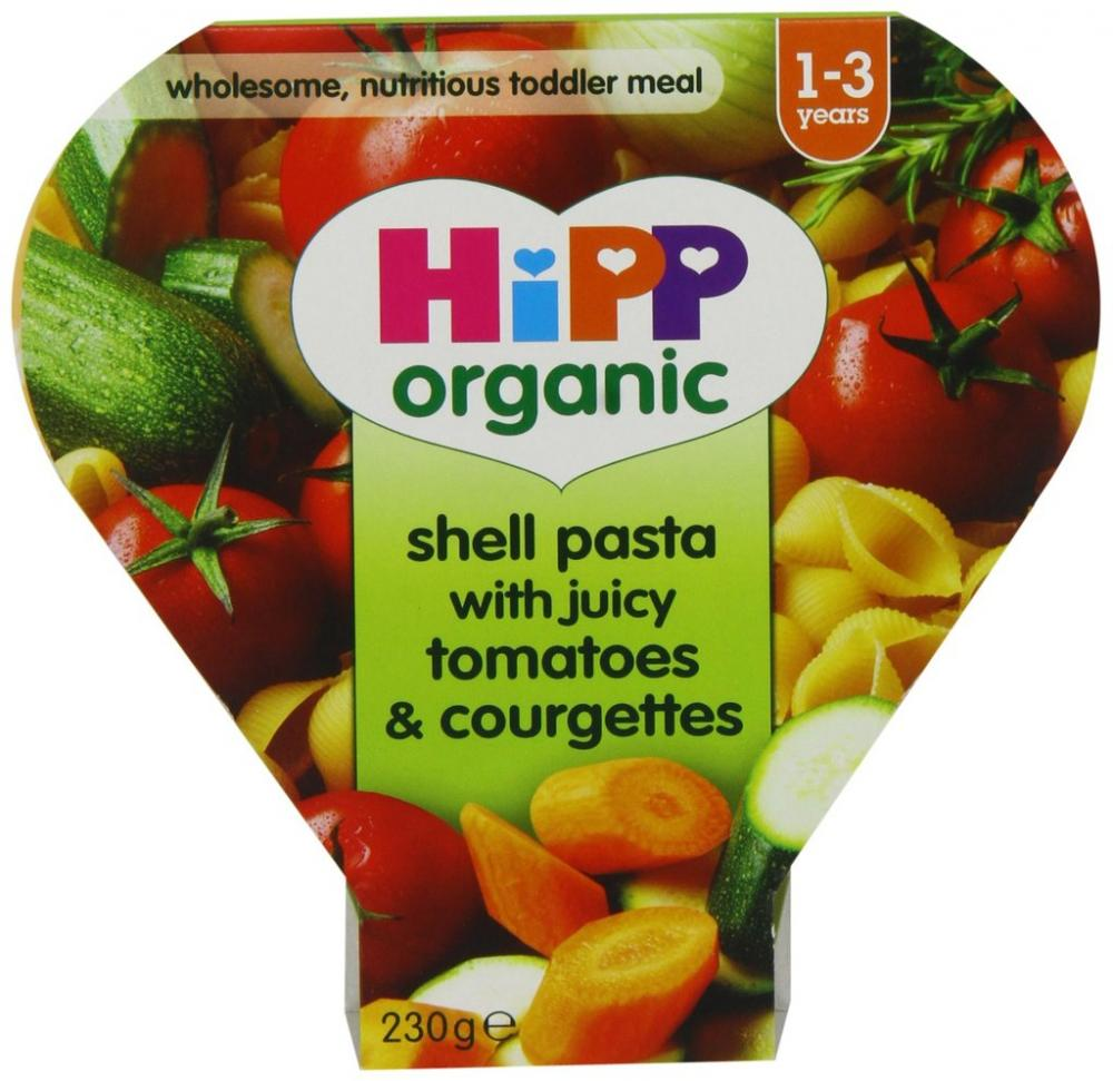 HiPP Organic Shell Pasta with Juicy Tomatoes and Courgettes Tray Meal 230 g