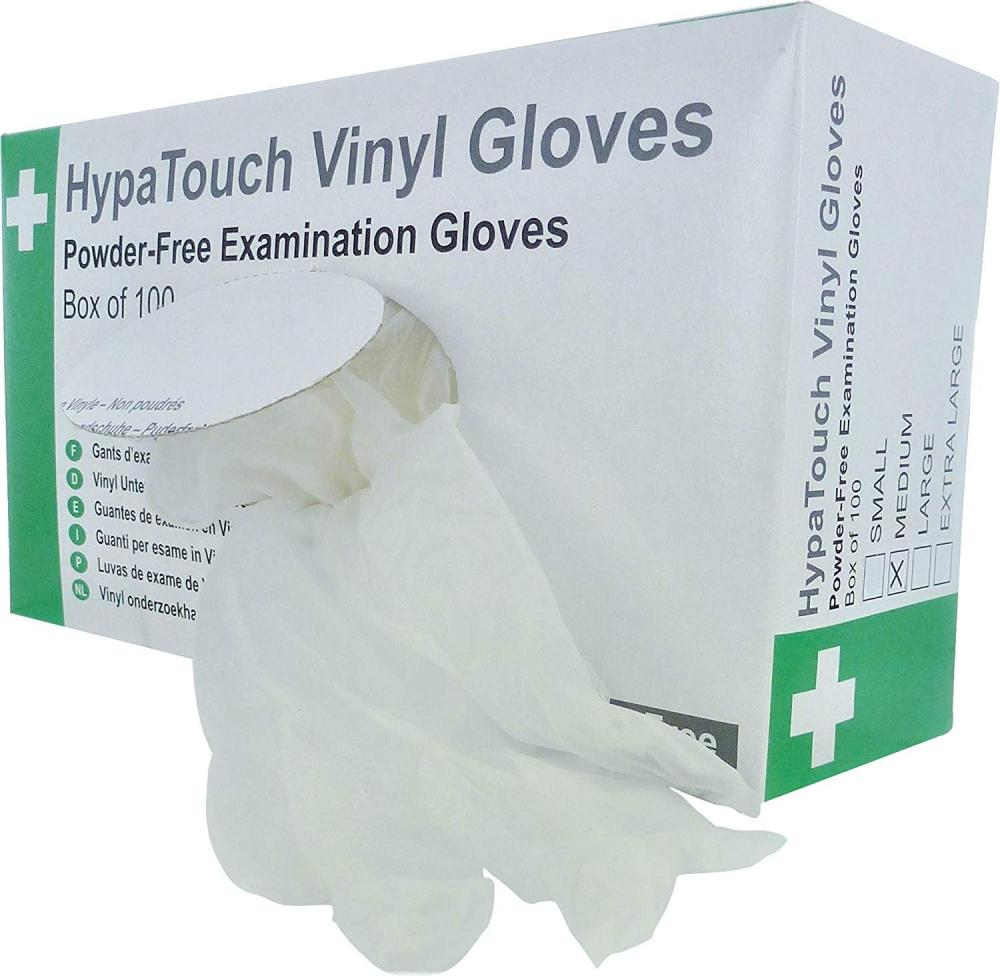 HypaTouch Vinyl Disposable Gloves Medium Box Of 100