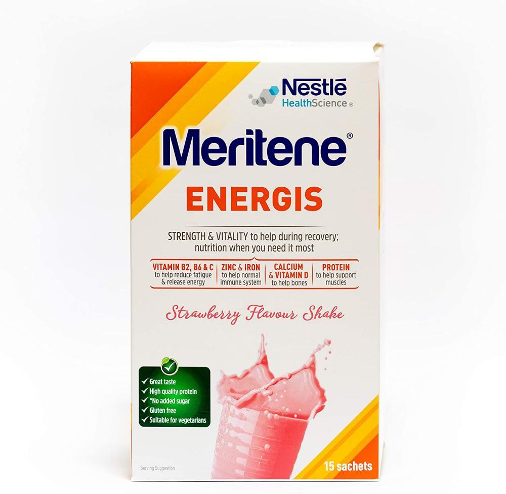 Nestle Health Science Meritene Energis Strawberry Shake Powder Pack of 15