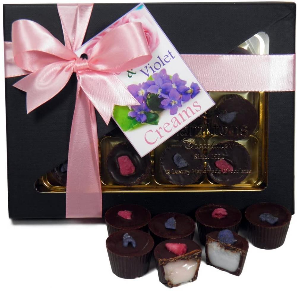 Hamiltons Rose and Violet Creams 12 Handmade Chocolate Cups Gift Box