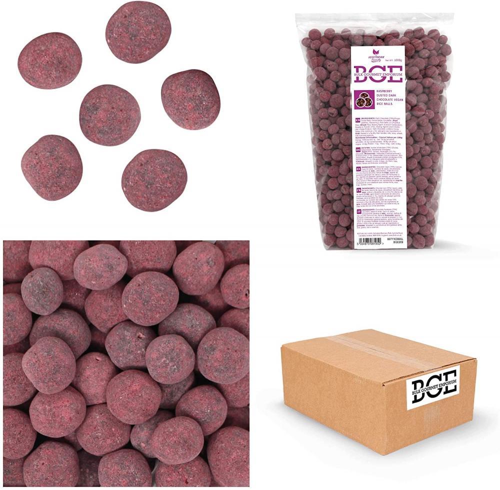 SALE  Bulk Gourmet Emporium Raspberry Dusted Skinny Dark Chocolate Vegan Rice Balls 1kg