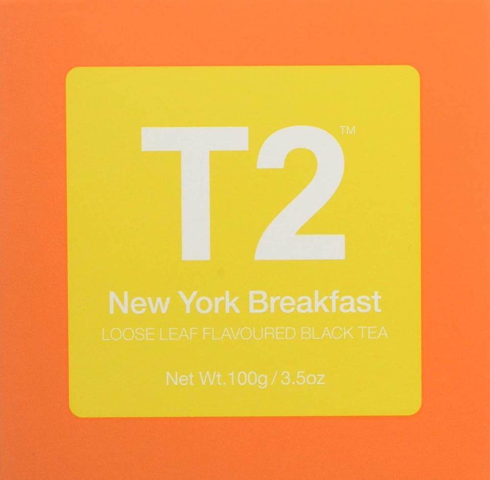 T2 Tea New York Breakfast Black Tea Loose Leaf Black Tea in Box 100 g