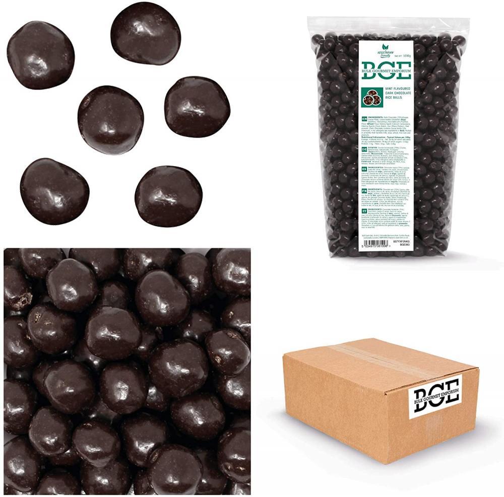 Bulk Gourmet Emporium Mint Flavoured Skinny Vegan Dark Chocolate Rice Balls 1 kg