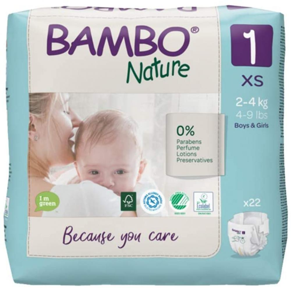 Bambo Nature Size 1 Premium Eco Nappies 2-4 kg