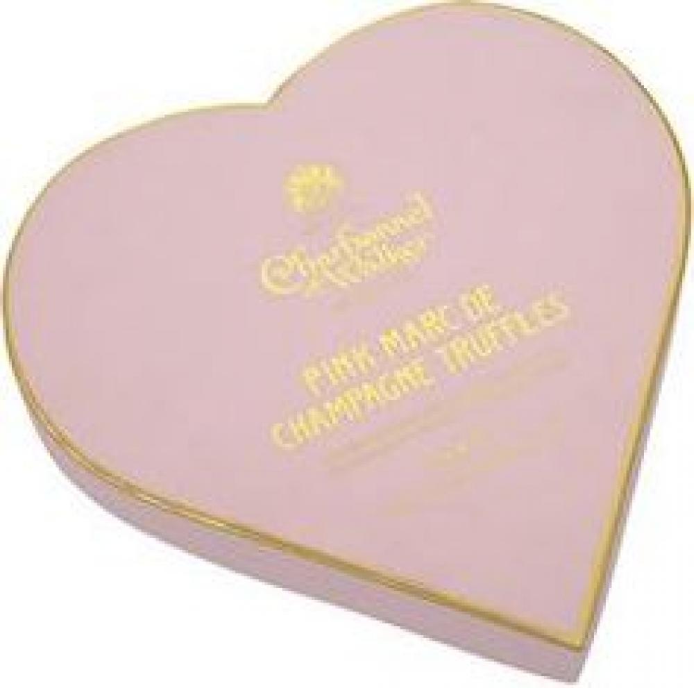 Charbonnel Et Walker Pink Marc de Champagne Truffles in Heart Shaped Box 200g Damaged Box