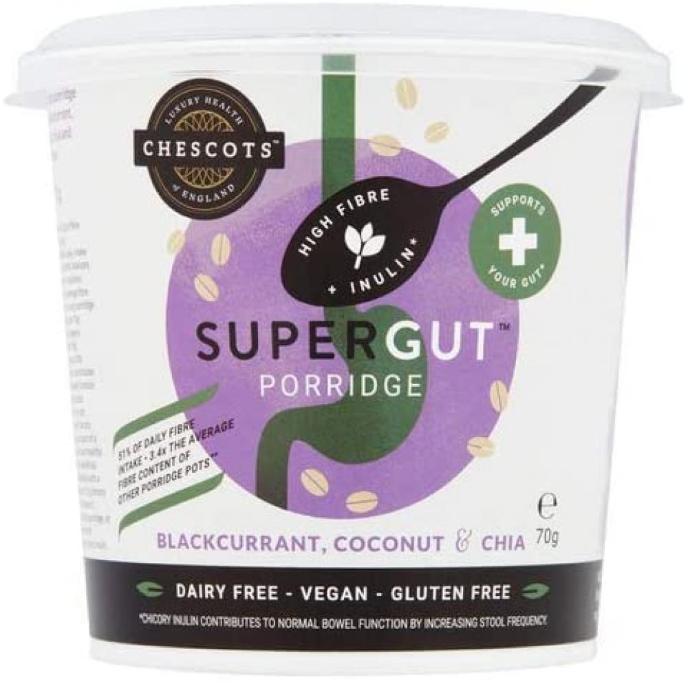 Chescots SuperGut Blackcurrant Coconut and Chia Porridge Pot 70g