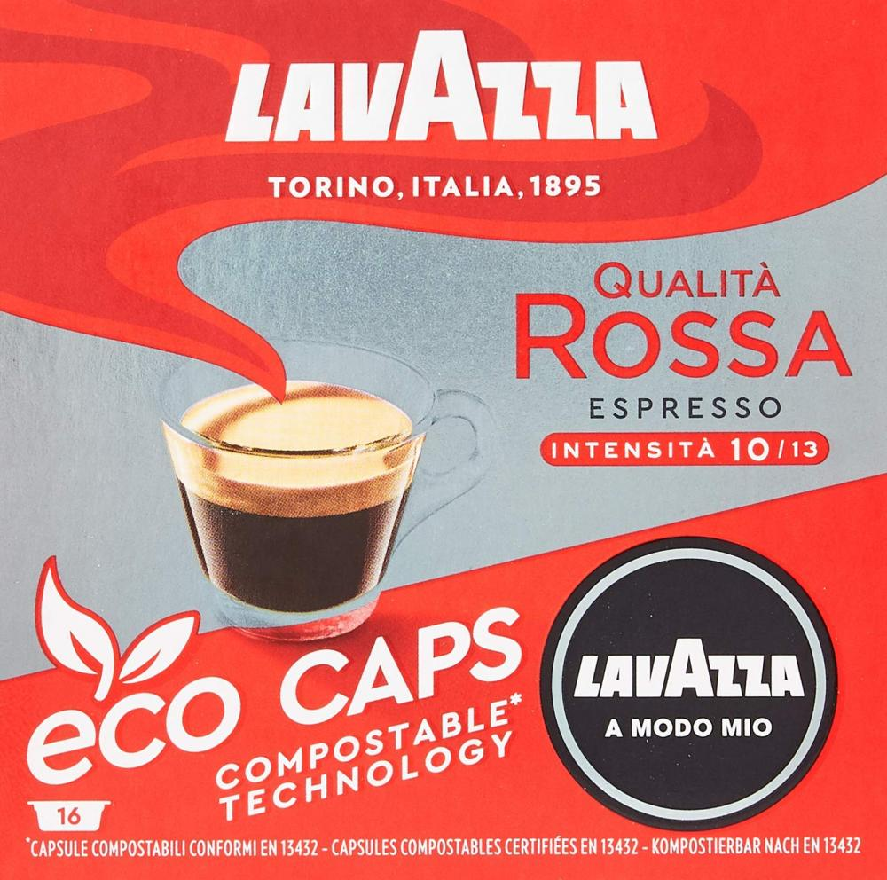 Lavazza A Modo Mio Eco Caps Coffee Pods Espresso Qualita Rossa 16 Capsules