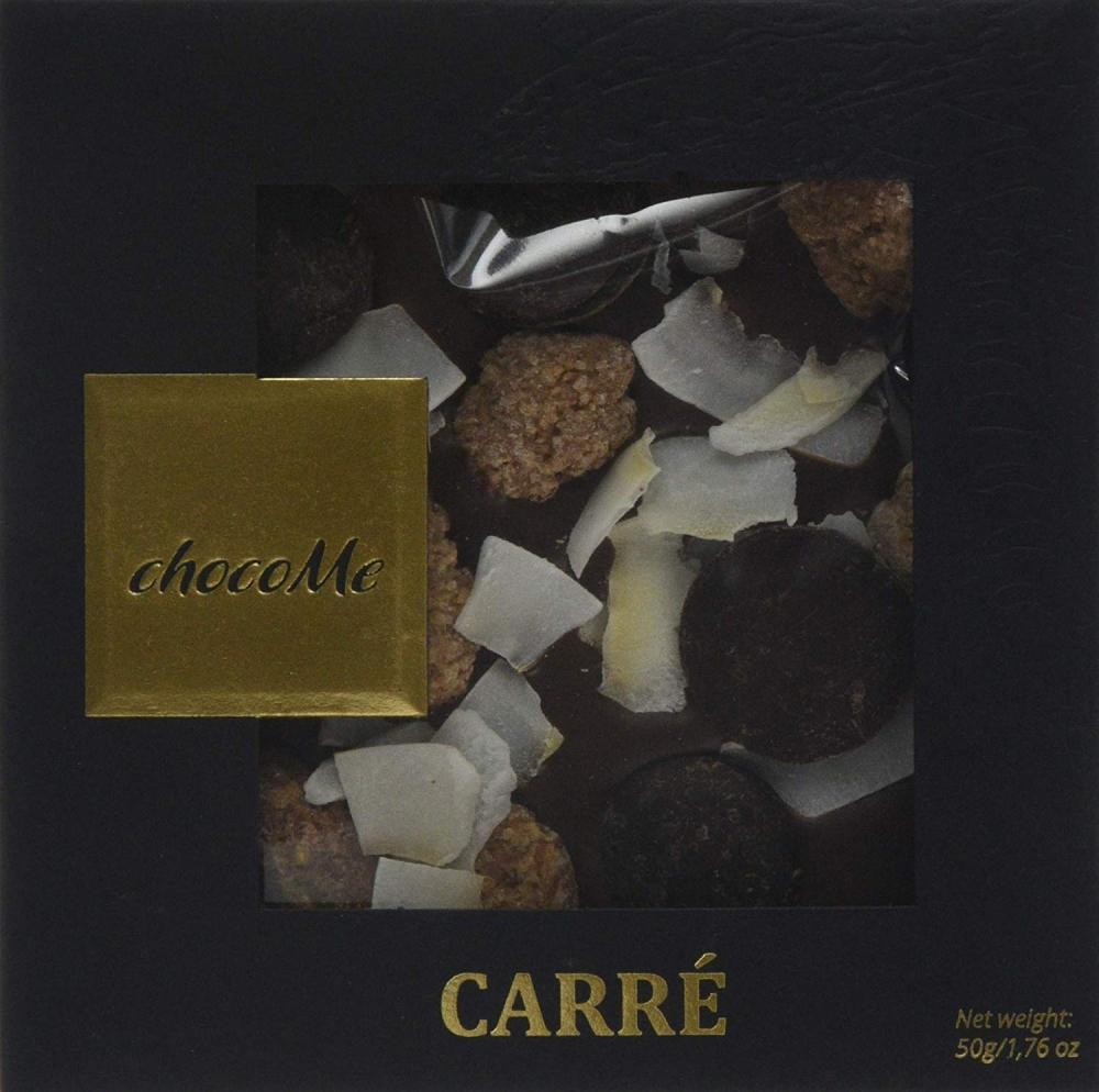 ChocoMe Carre Gourmet Milk Chocolate with Cinnamon and Sugar Coated AlmondsCoconut Shavings and Dark Chocolate Pastilles 50 g