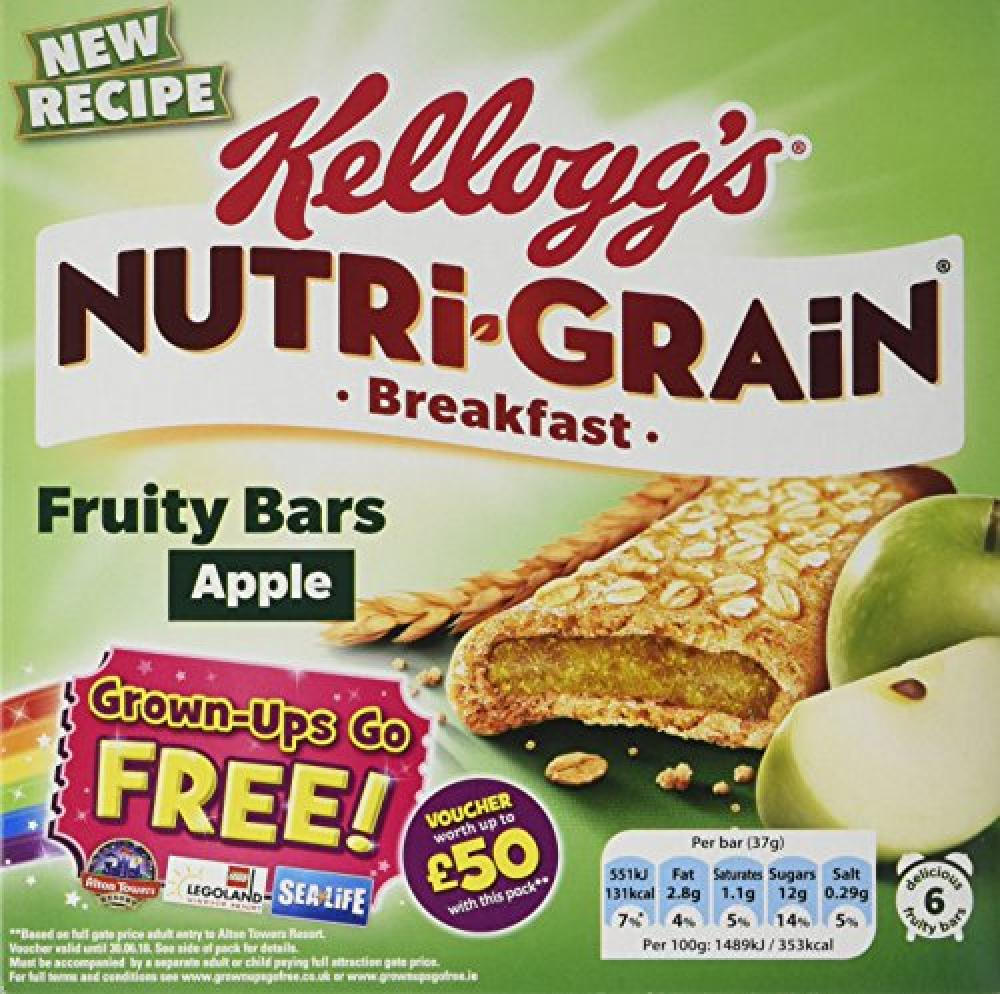Without Box  Kelloggs Nutri-Grain Apple Breakfast Bar 6x37g