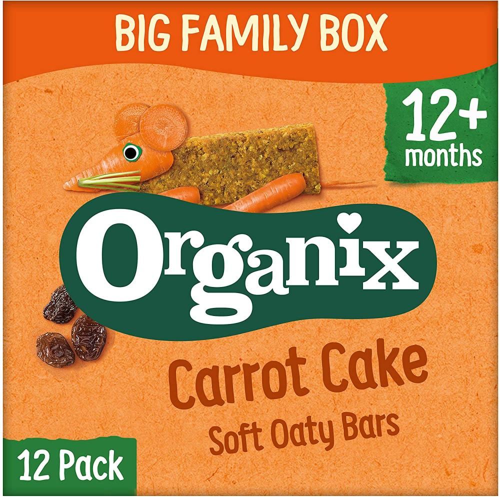 Organix Carrot Cake Organic Soft Oat Snack Bars Family Box 12x30g