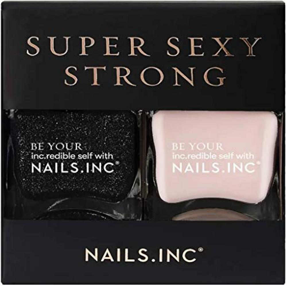 Nails Inc Super Sexy Strong Nail Polish Duo Black Glitter 2x14ml