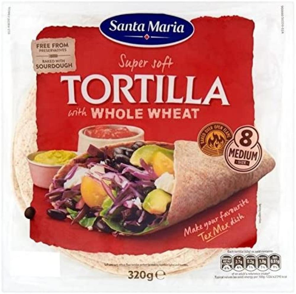 Santa Maria Super Soft Medium Tortilla Wholewheat x8