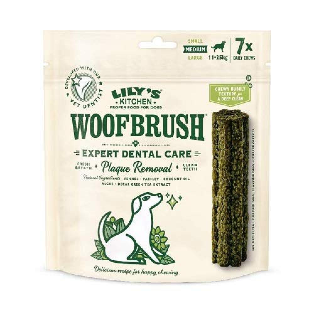 Lilys Kitchen Woofbrush Daily Dental Chew Dog Treat Medium Dogs 7 Chews 196g