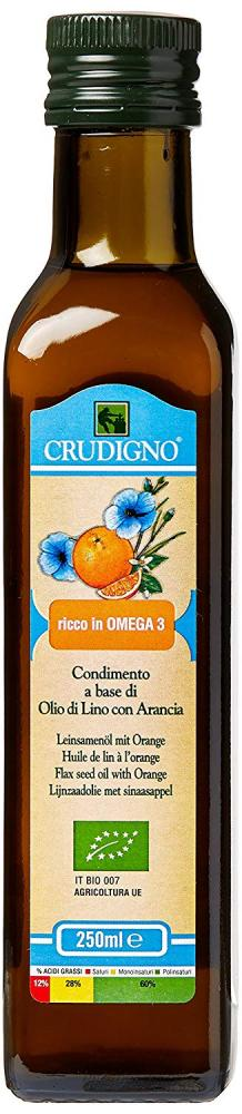 Crudigno Organic Cold Pressed Flax Seed Oil with Orange 250ml