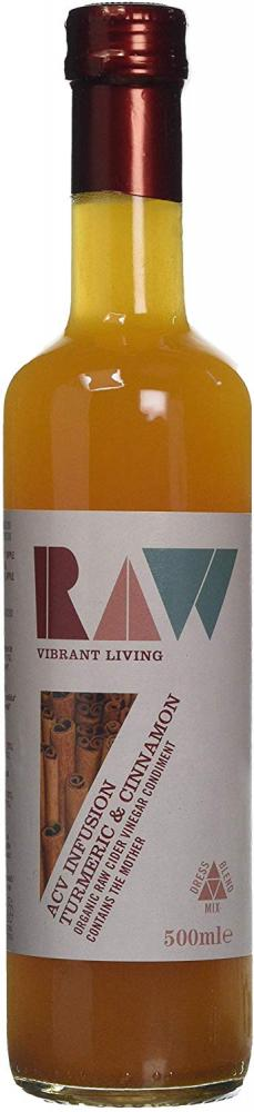 Raw Vibrant Living Organic Apple Cider Vinegar Blend with Turmeric and Cinnamon 500ml