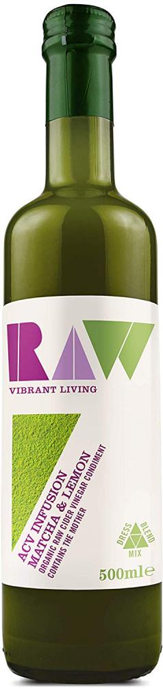 Raw Vibrant Living Organic Apple Cider Vinegar Blend with Matcha and Lemon 500ml