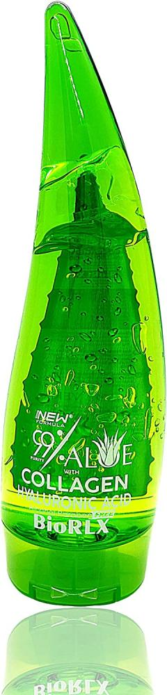 BioRLX 99 Percent Purity Aloe Vera Gel with Collagen and Hyaluronic Acid for Face Body and Hair 250ml