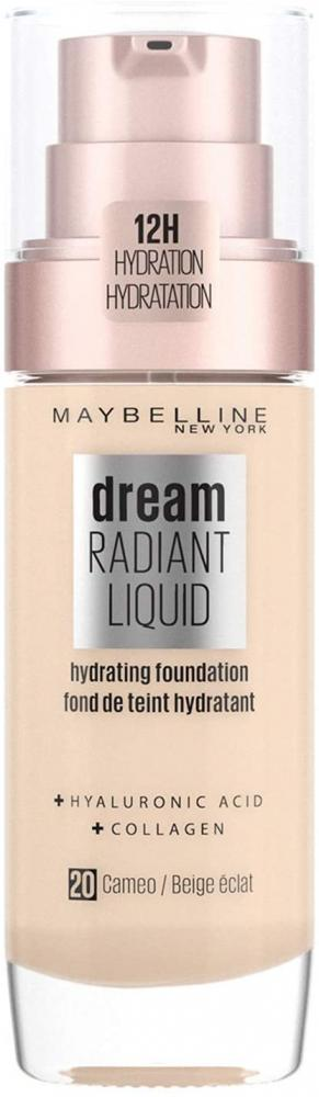 Maybelline FoundationDream Radiant Liquid Hydrating Foundation with Hyaluronic Acid and Collagen 20 Cameo 30ml