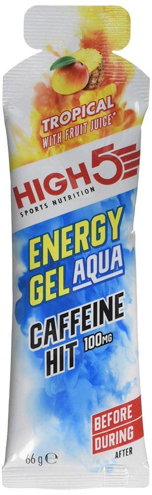 SALE  High 5 Sports Nutrition Energy Gel Aqua Caffeine Hit Tropical 66g