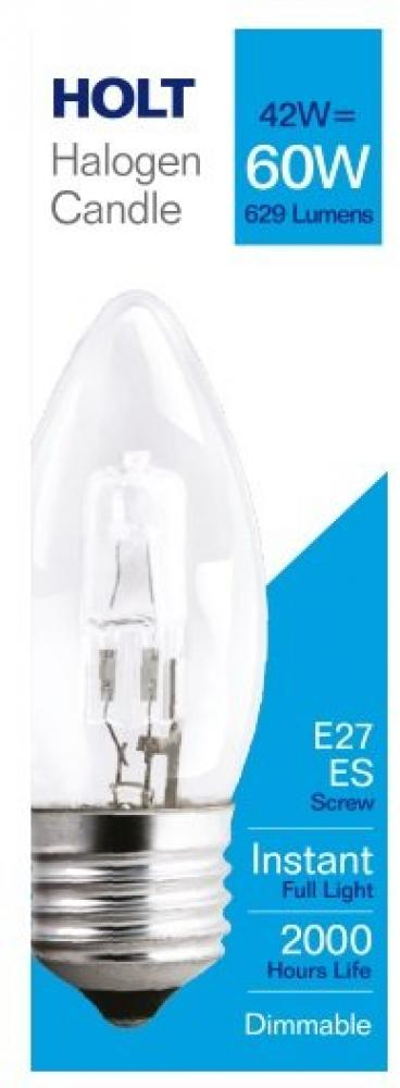 Holt Halogen Clear Candle Light Bulb 42w E14SE
