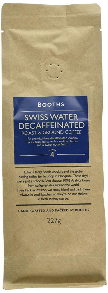 Booths Swiss Water Decaffeinated Roast and Ground Coffee 227g